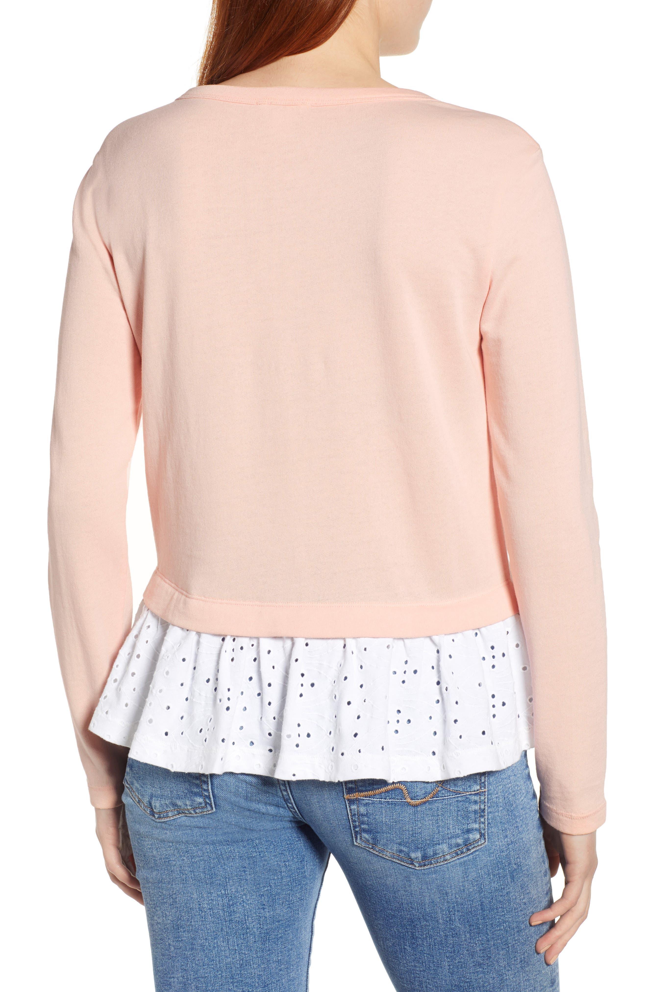 ,                             Eyelet Peplum Sweatshirt,                             Alternate thumbnail 2, color,                             PINK- WHITE