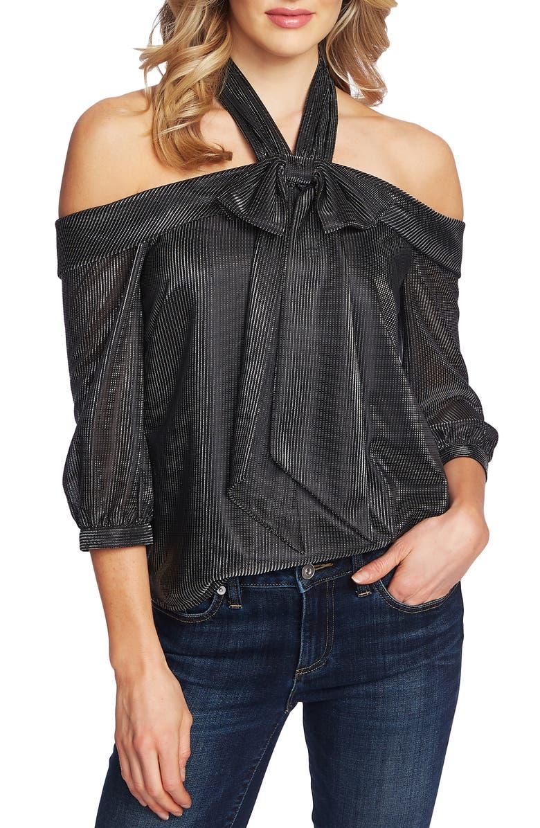 CECE Silver Stripe Drop Shoulder Top, Main, color, RICH BLACK