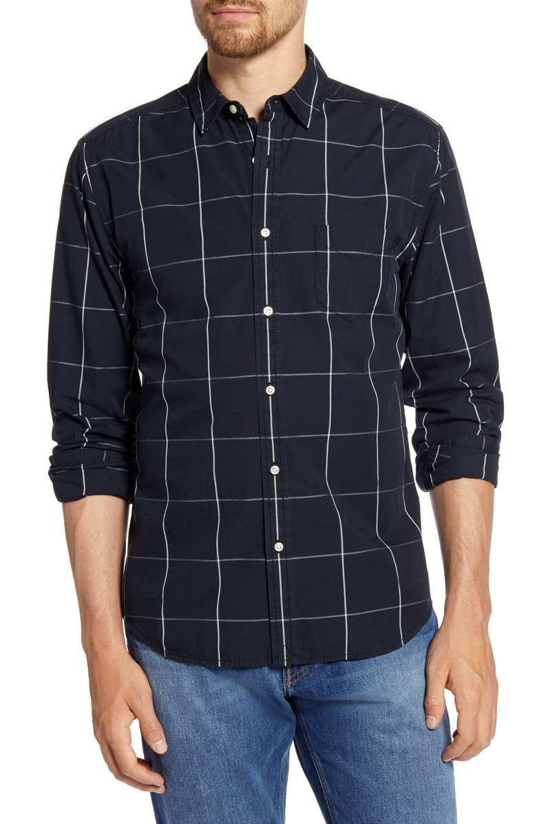 LIFE/AFTER/DENIM Regular Fit Windowpane Button-Up Shirt, Main, color, BLACK