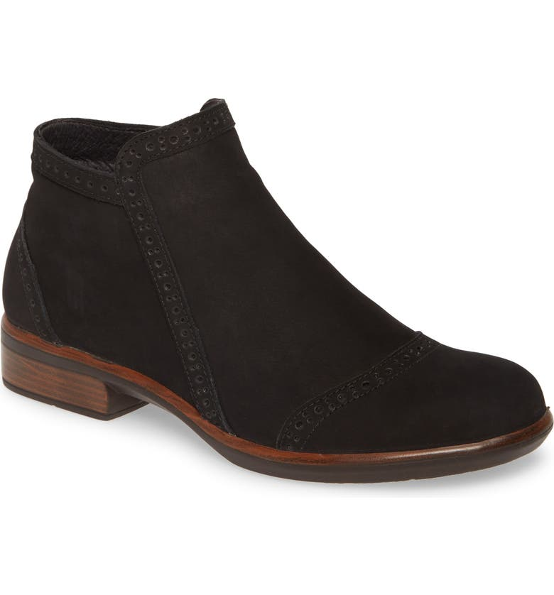 NAOT Nefasi Bootie, Main, color, BLACK VELVET NUBUCK LEATHER