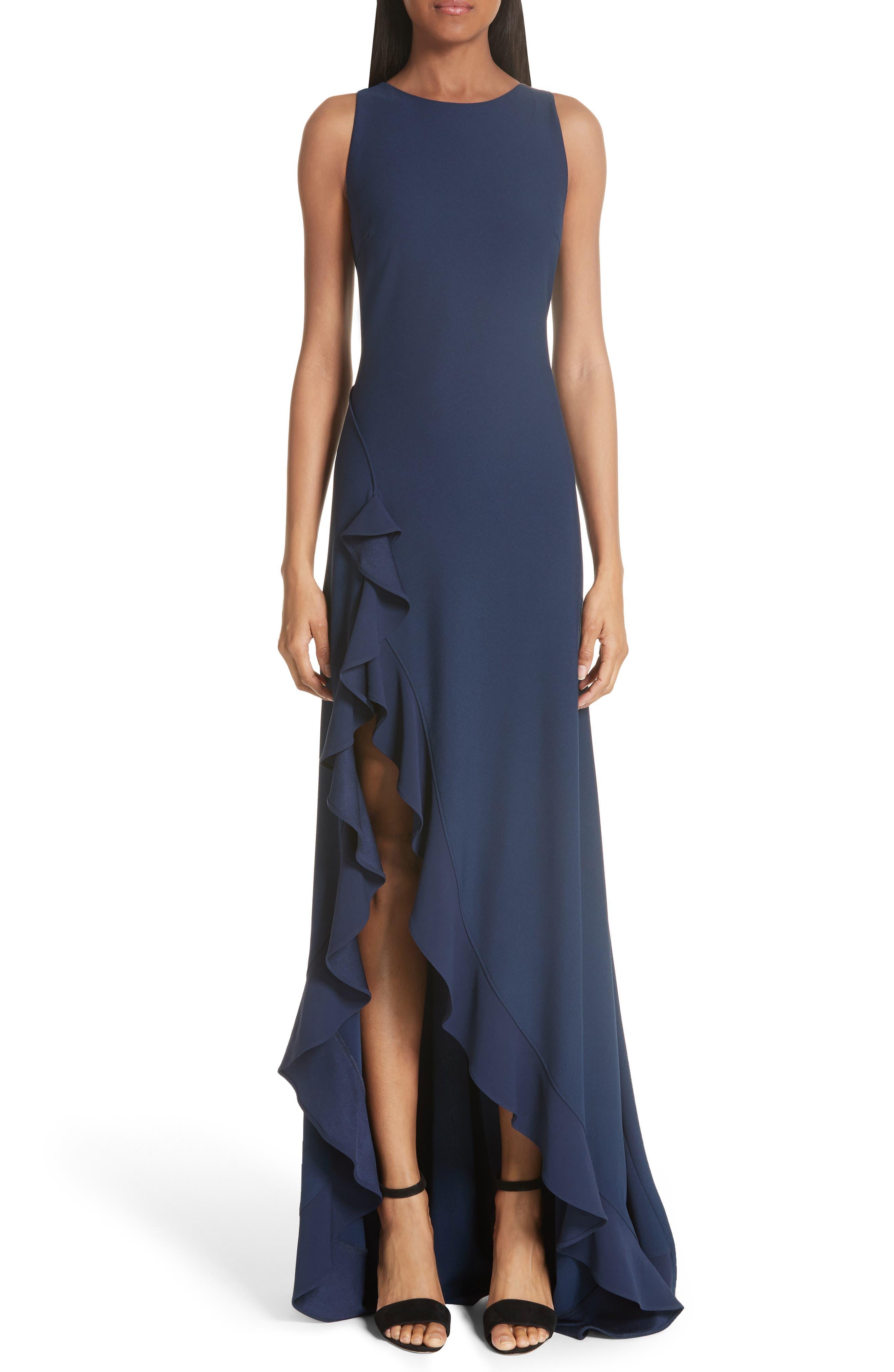 Zac Zac Posen Janice Slit Ruffle Gown, Blue