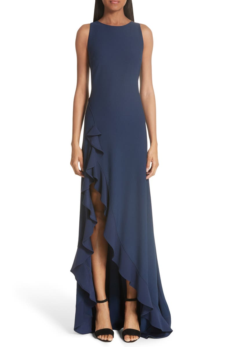 ZAC ZAC POSEN Janice Slit Ruffle Gown, Main, color, NAVY