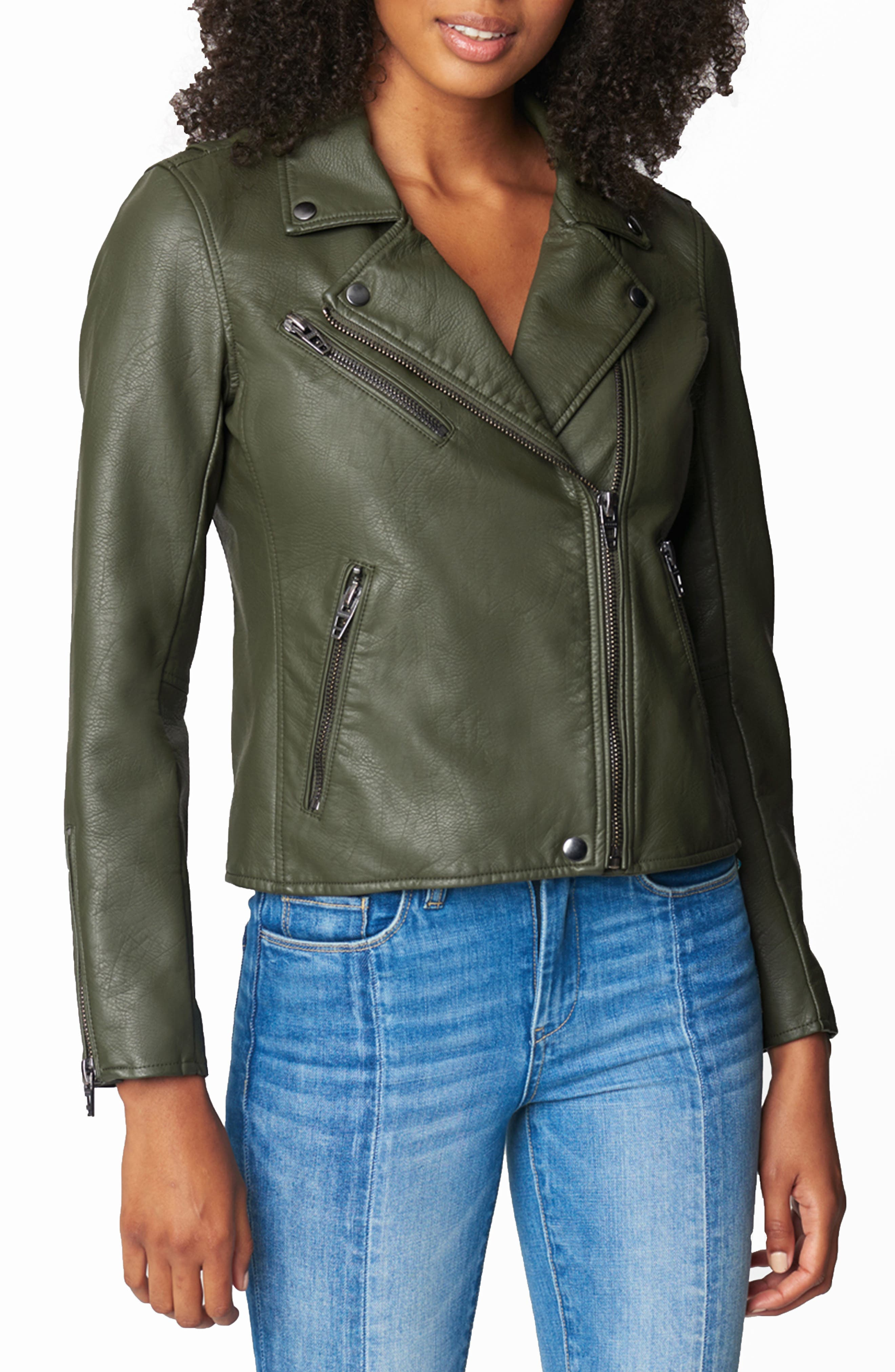 Women's Blanknyc Faux Leather Moto Jacket, Size Small - Green