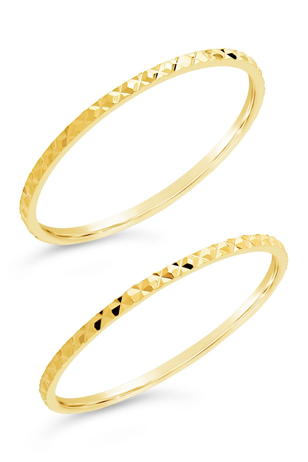 Image of Sterling Forever 14K Yellow Gold Vermeil Textured Ring - Set of 2