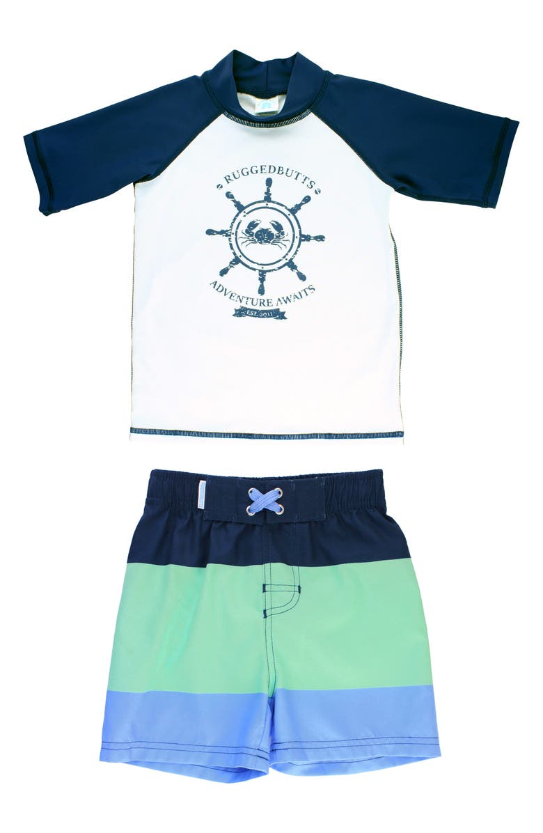 RUGGEDBUTTS Nautical AdventureTwo-Piece Rashguard Swimsuit, Main, color, WHITE