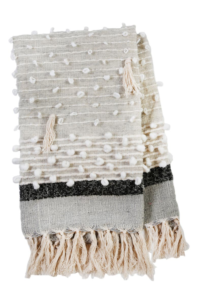 POM POM AT HOME Ziggy Woven Throw Blanket, Main, color, GREY/ CHARCOAL