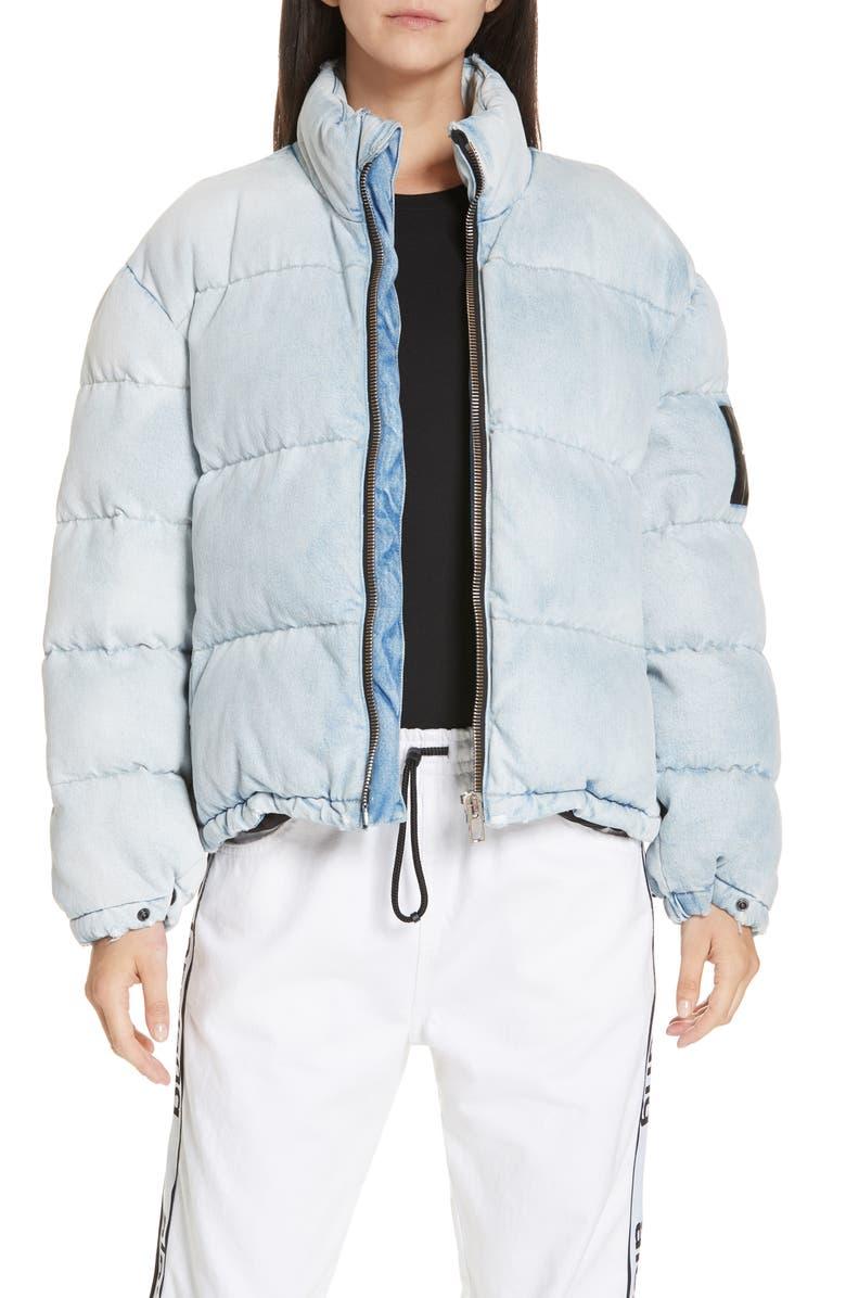 ALEXANDERWANG.T Bleach Denim Puffer Coat, Main, color, BLEACH