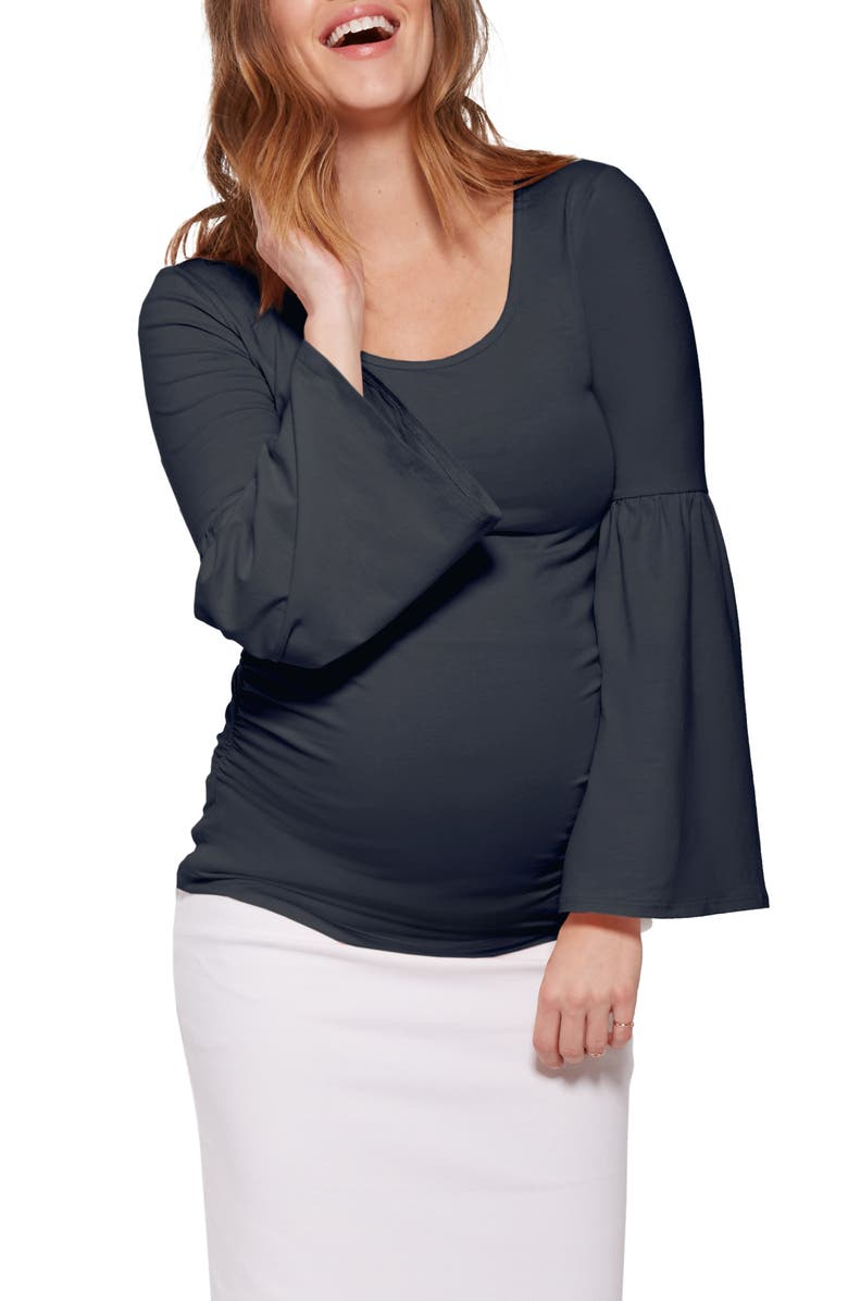 STOWAWAY COLLECTION Bell Sleeve Maternity Top, Main, color, NAVY