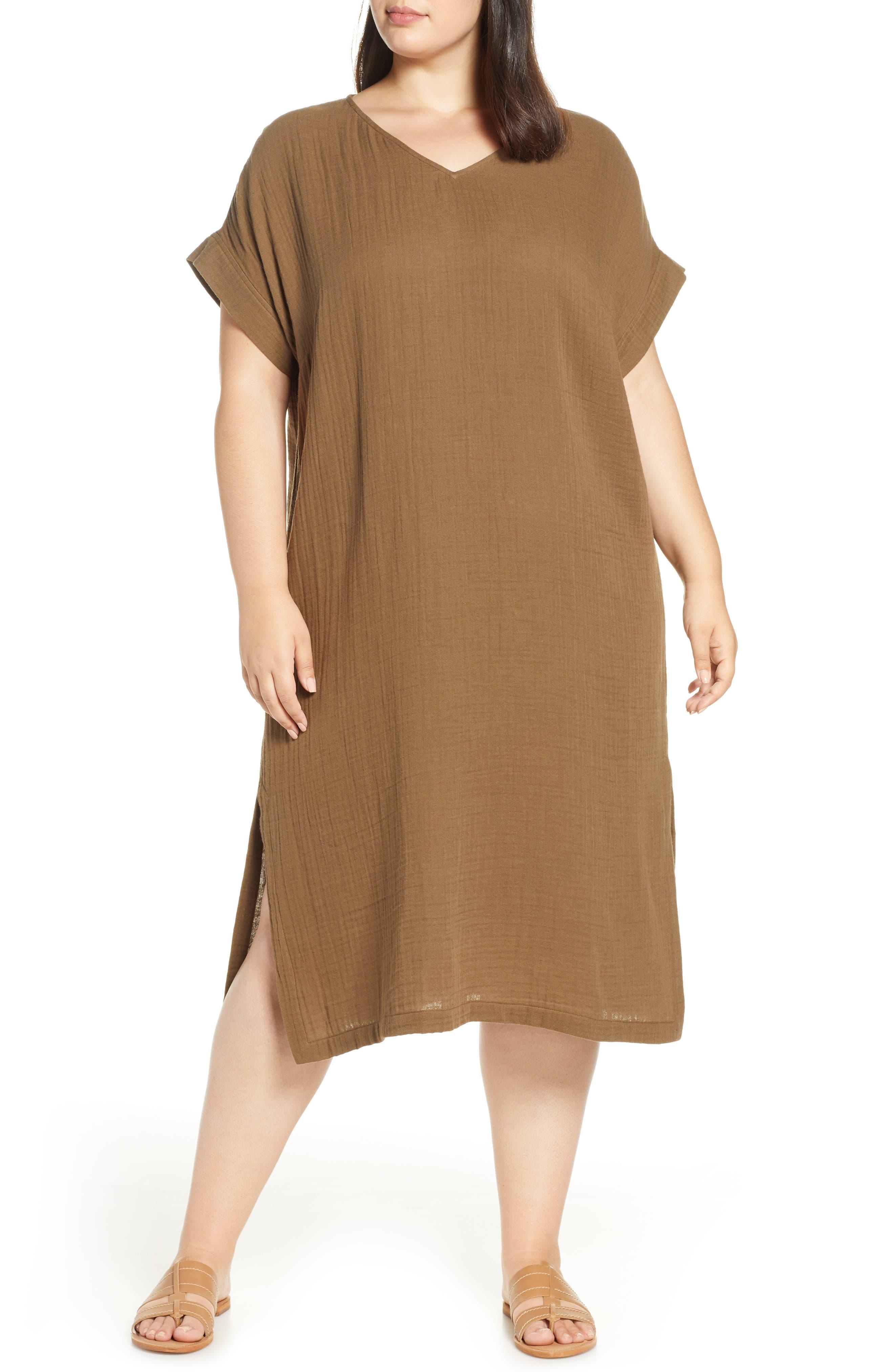 Plus Size Eileen Fisher Organic Cotton Midi Dress, Brown