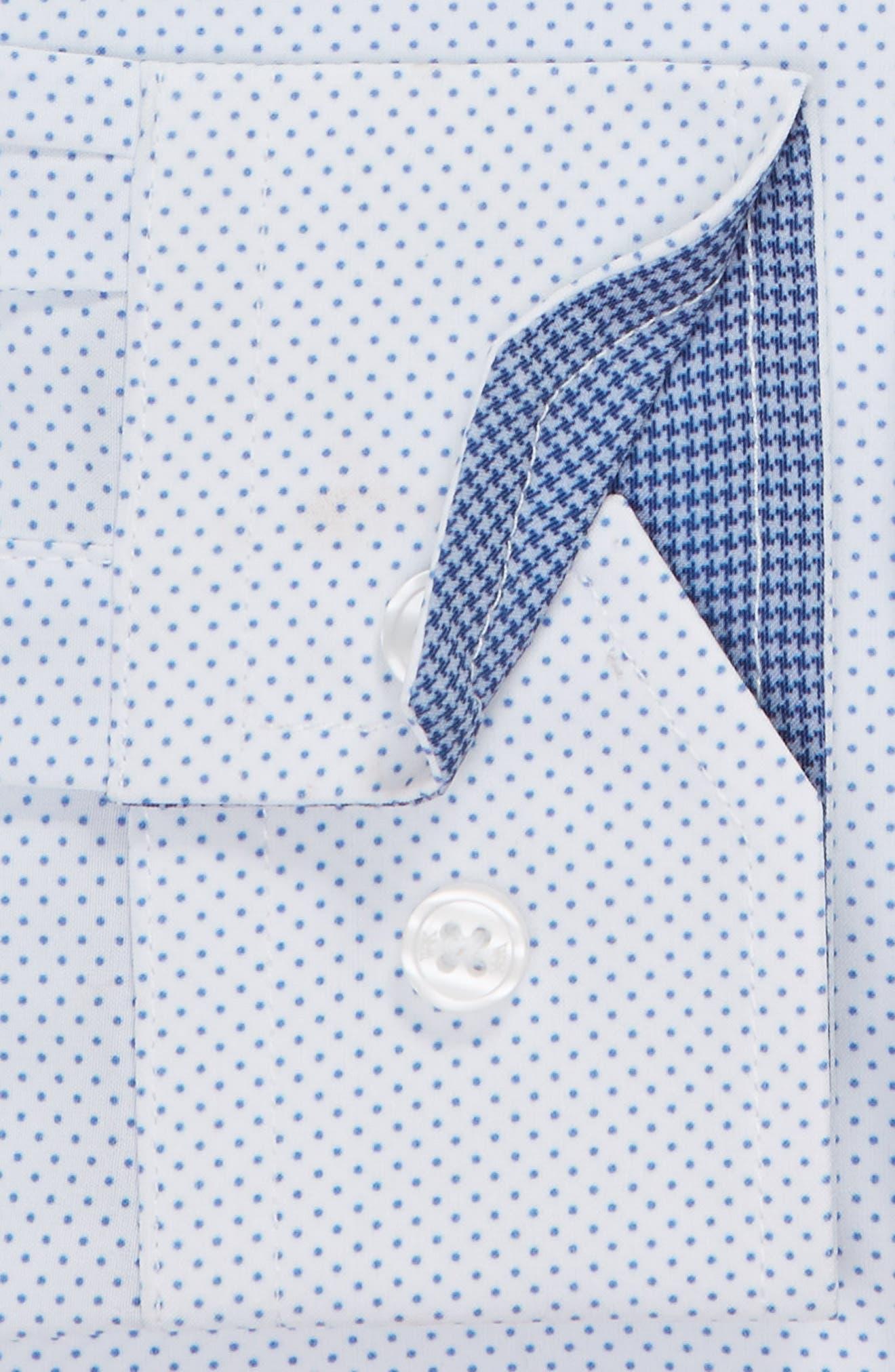 ,                             Slim Fit Performance Stretch Dot Dress Shirt,                             Alternate thumbnail 6, color,                             LIGHT BLUE