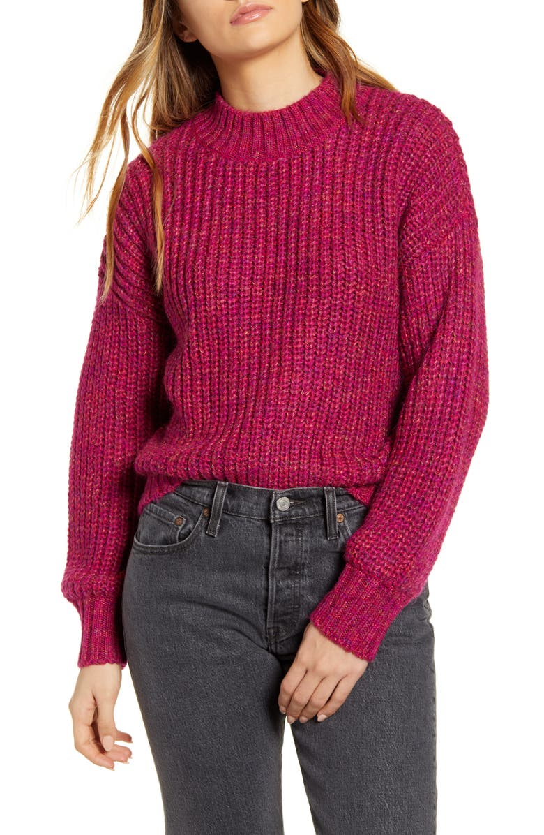 BAND OF GYPSIES Glacee Ribbed Mock Neck Sweater, Main, color, FUCHSIA