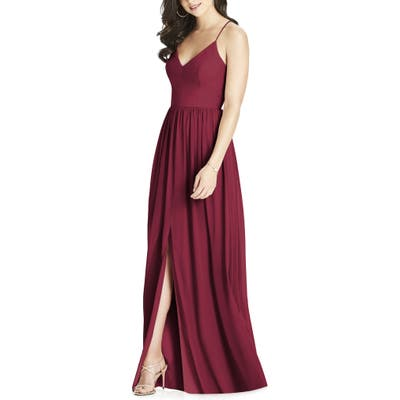 Dessy Collection Spaghetti Strap Chiffon Gown, Red
