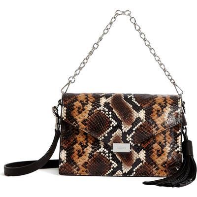 Allsaints Miki Snake Embossed Leather Crossbody Bag - Brown