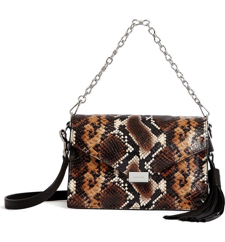 ALLSAINTS Miki Snake Embossed Leather Crossbody Bag, Main, color, 235