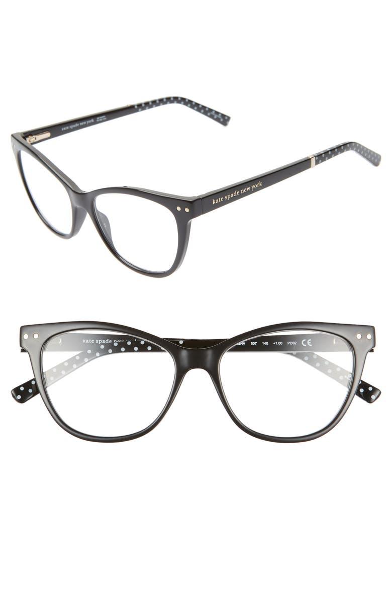 KATE SPADE NEW YORK johnesha 48mm reading glasses, Main, color, BLACK