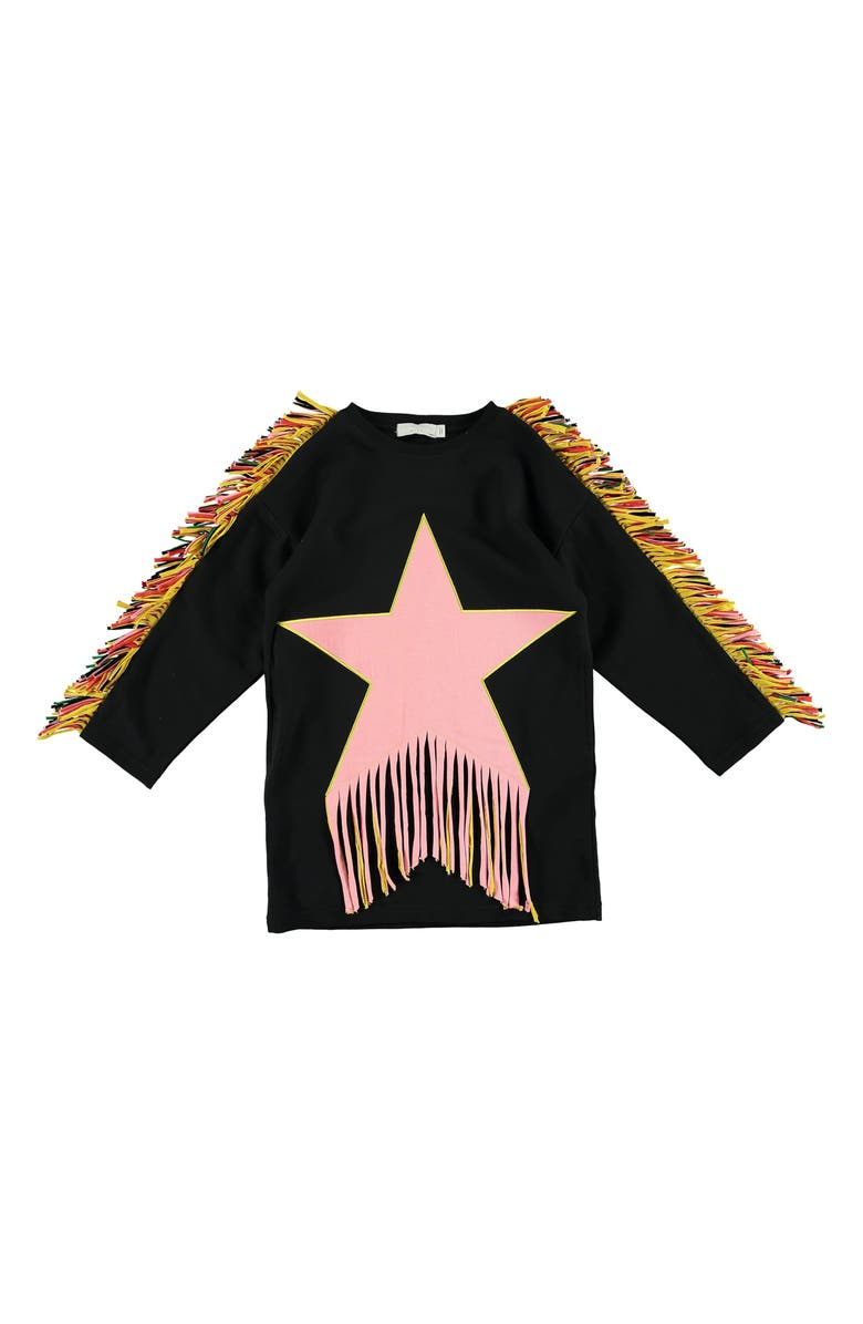 STELLA MCCARTNEY KIDS Fringe Star Sweatshirt Dress, Main, color, BLACK