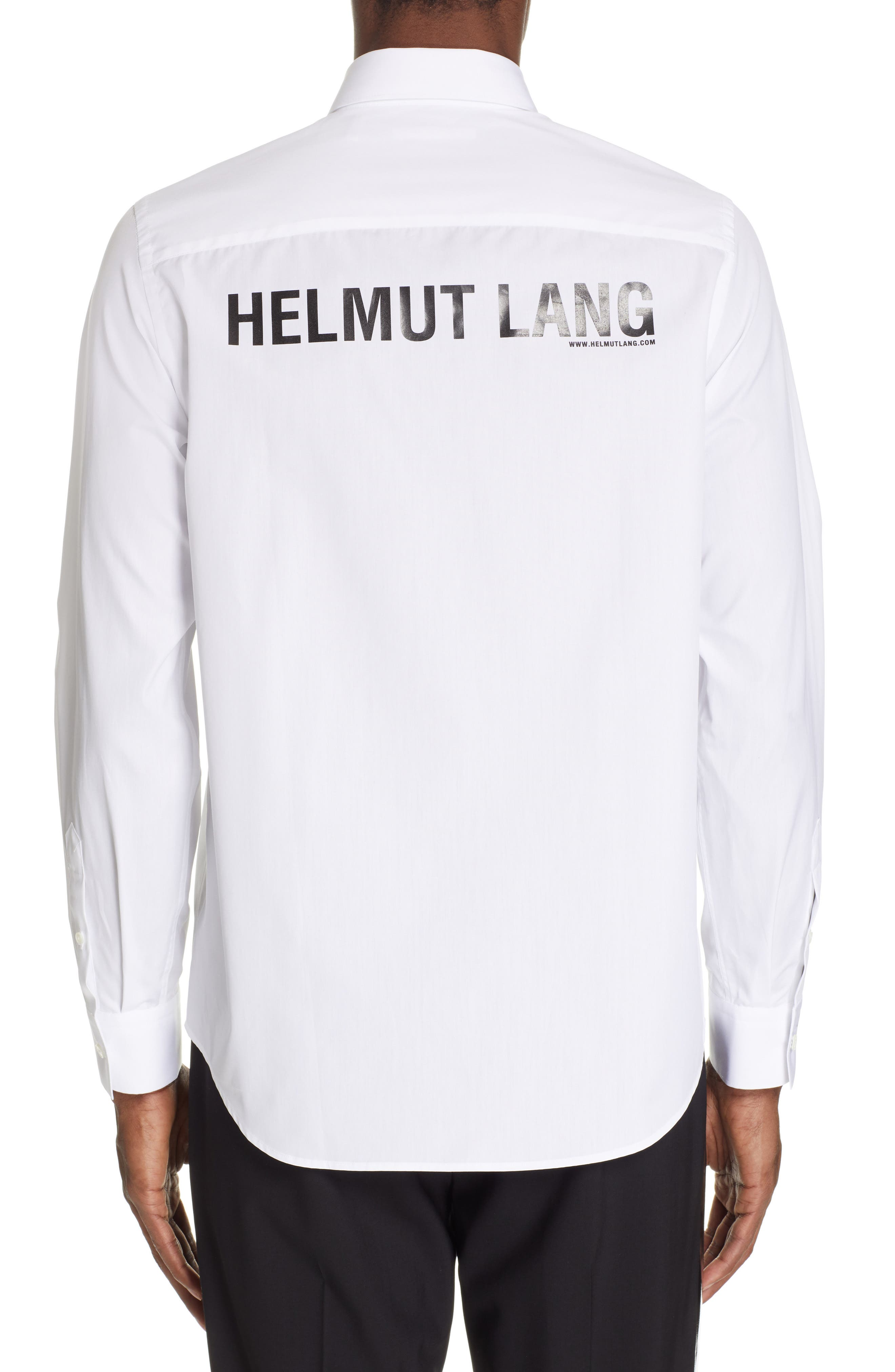 ,                             Logo Back Long Sleeve Woven Shirt,                             Alternate thumbnail 3, color,                             WHITE AND BLACK