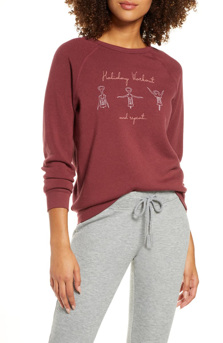 PROJECT SOCIAL T Holiday Workout Lounge Top, Main, color, ANDORRA BURGUNDY