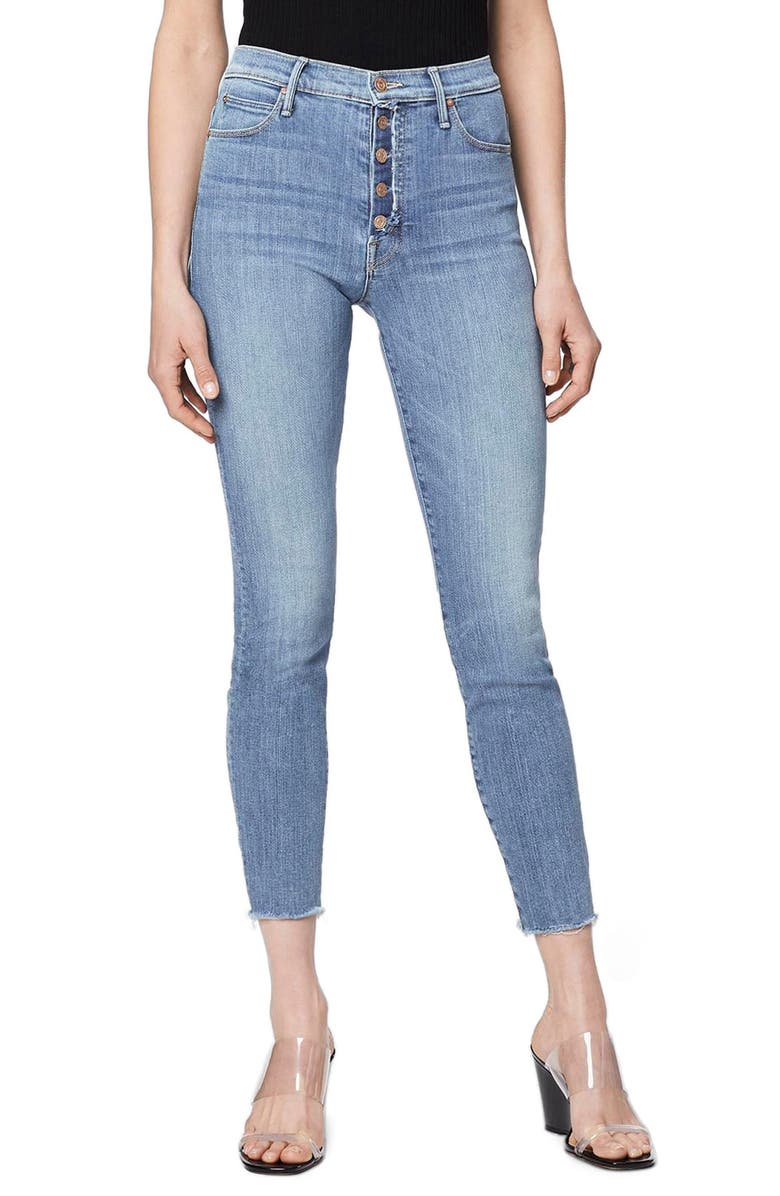 MOTHER The Fly Cut Stunner High Waist Fray Ankle Skinny Jeans, Main, color, FINAL FRONTIER
