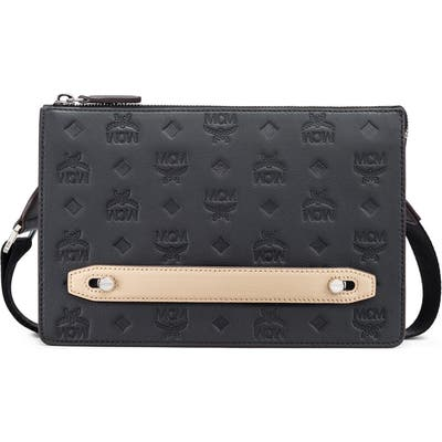Mcm Klara Monogrammed Leather Pouch - Black