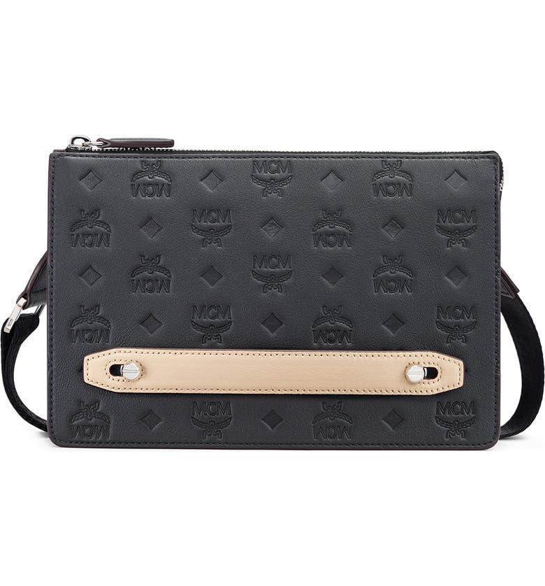 MCM Klara Monogrammed Leather Pouch, Main, color, BLACK