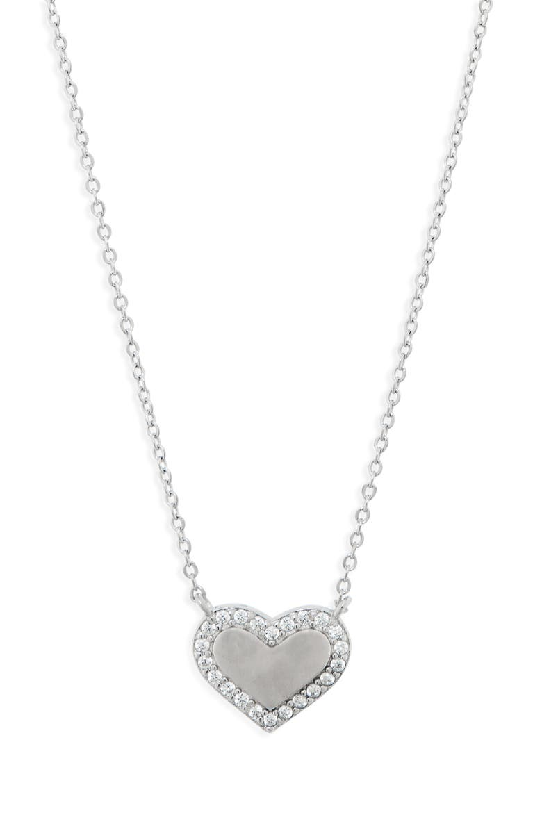 CHARM IT!<SUP>®</SUP> Pavé Heart Sterling Silver Necklace, Main, color, SILVER