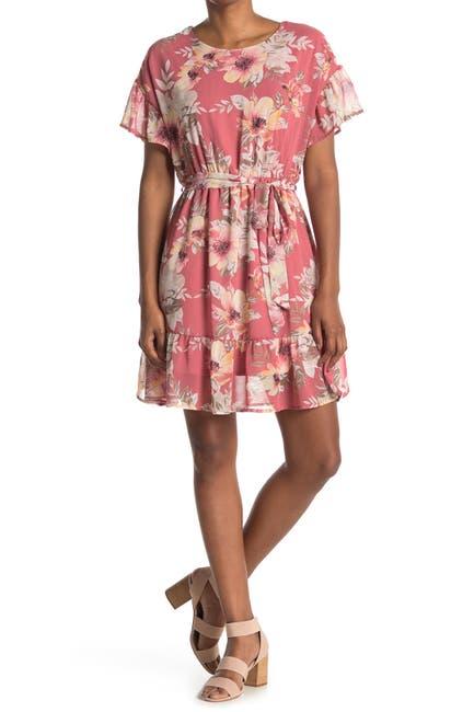 Image of WEST KEI Floral Tie Waist Founce Hem Dress