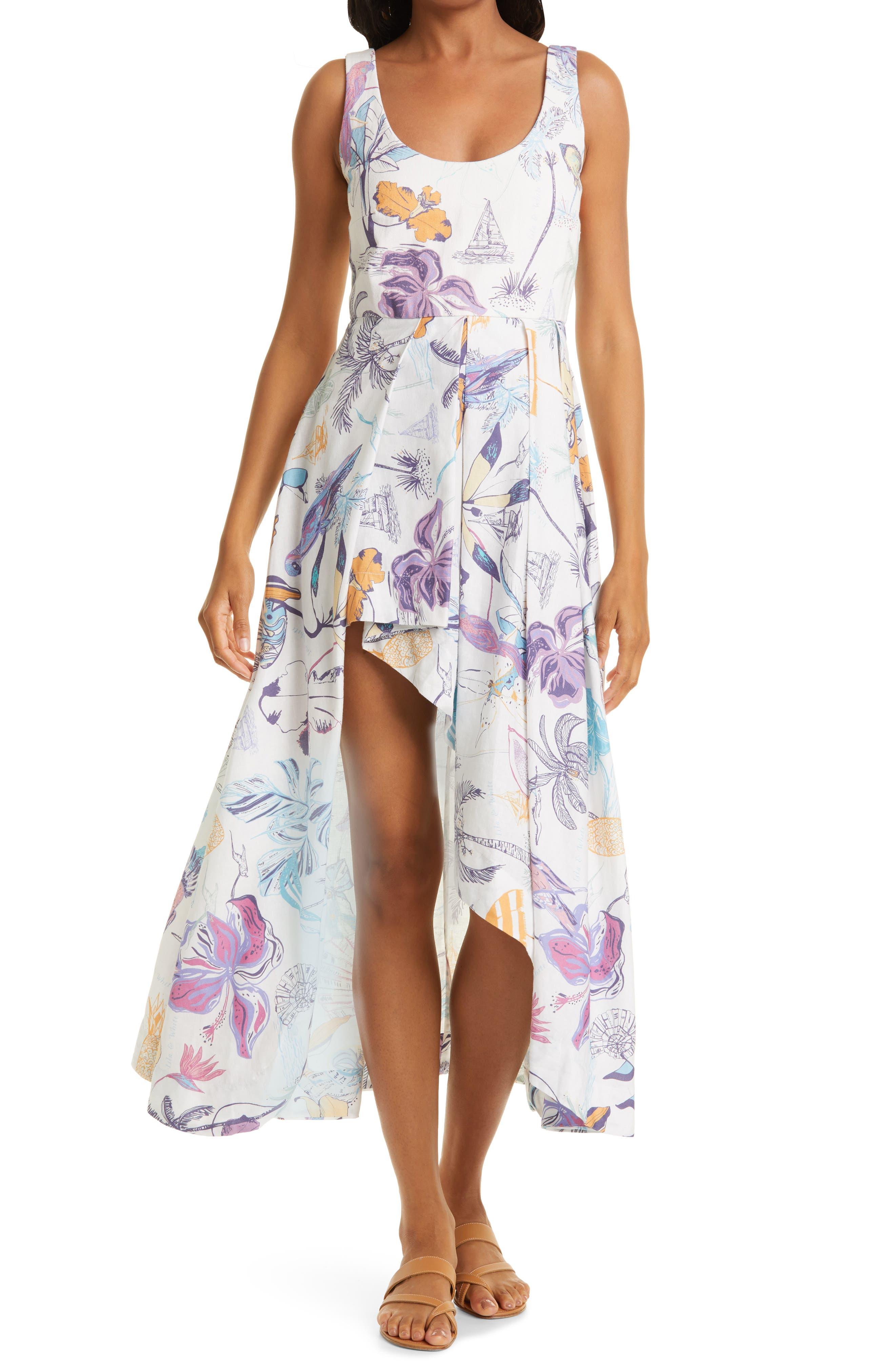 Samara High-Low Linen & Cotton Midi Dress