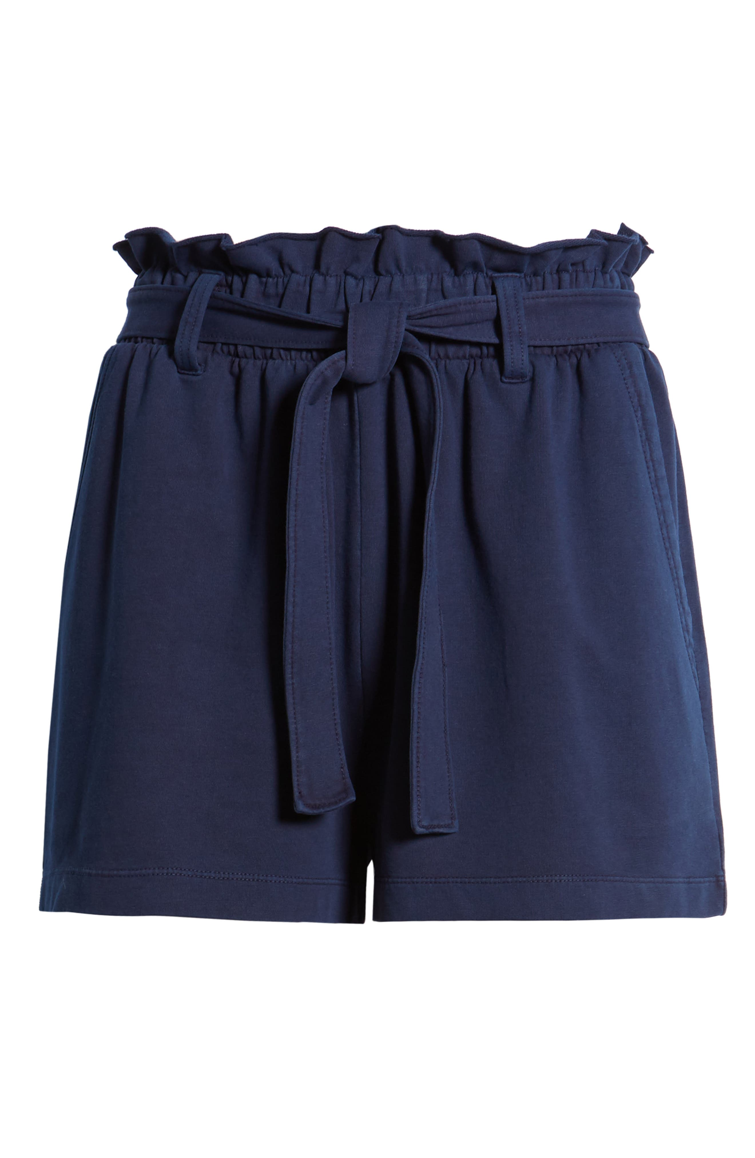 ,                             Paperbag High Waist Shorts,                             Alternate thumbnail 7, color,                             NAVY EVENING