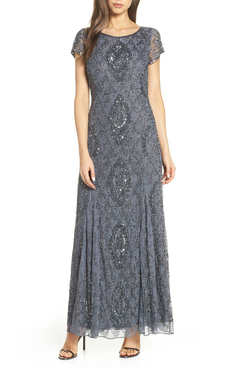 PISARRO NIGHTS Cap Sleeve Beaded Lace Evening Dress, Main, color, 020