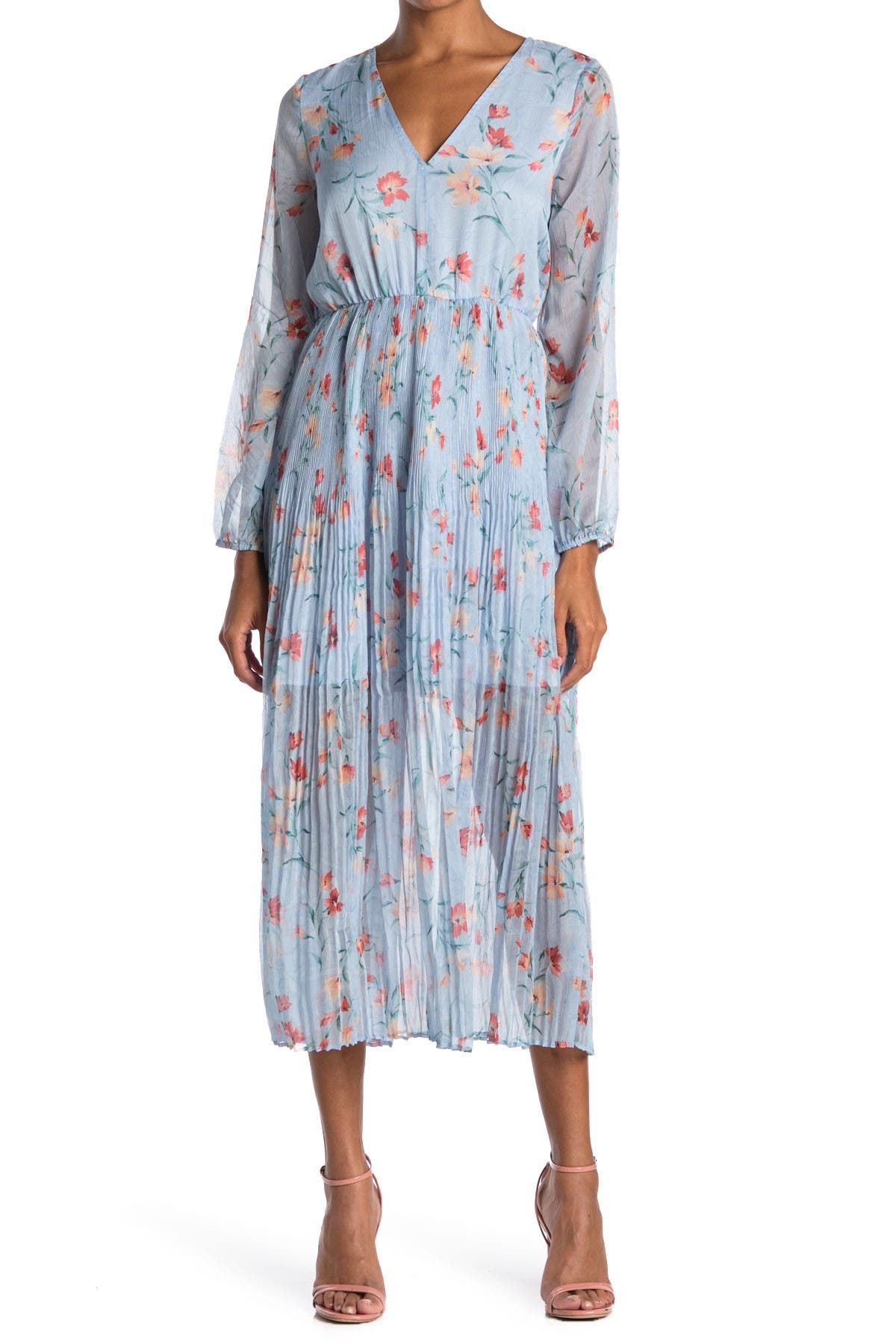 Image of MELLODAY Floral Pleated V-Neck Midi Dress