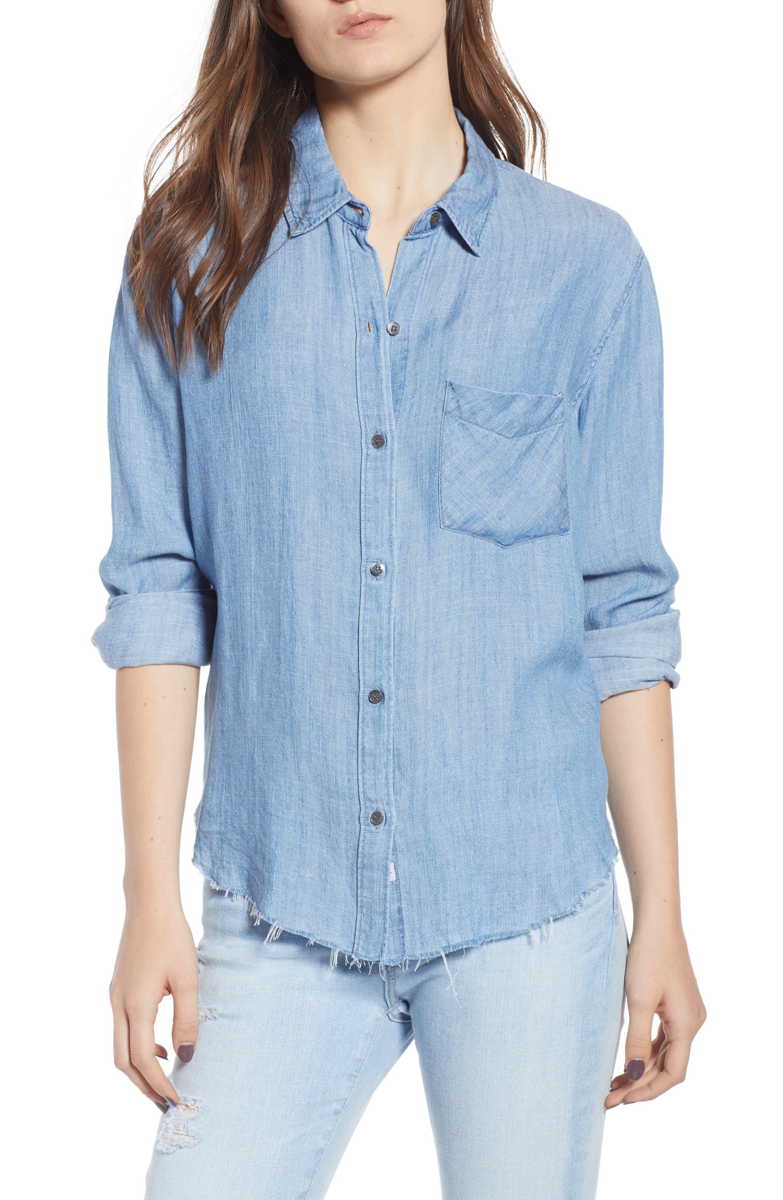 Ingrid Raw Hem Chambray Shirt, Main, color, 493