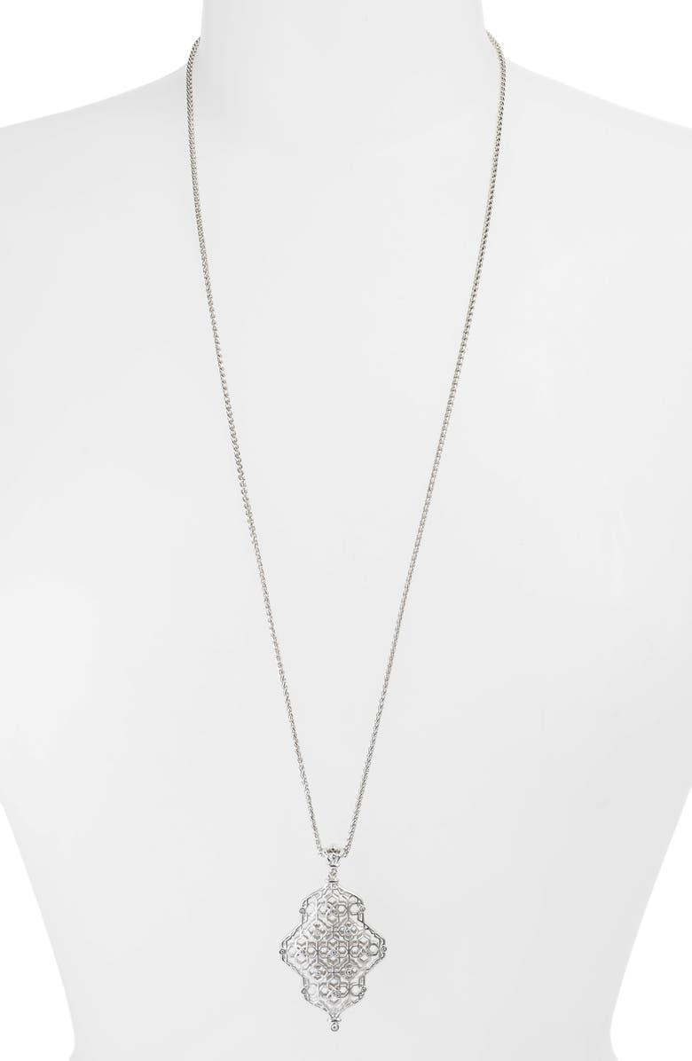 KENDRA SCOTT Kathy Adjustable Pendant Necklace, Main, color, RHODIUM/ WHITE CZ