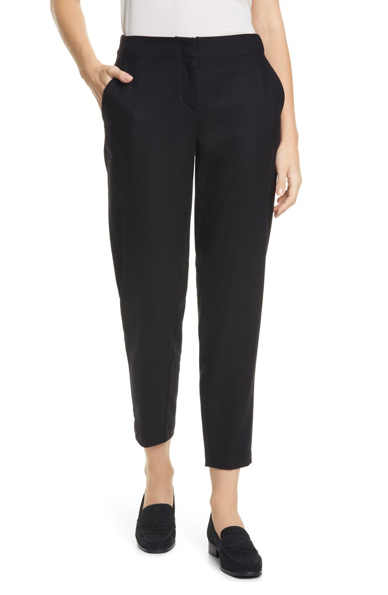 EILEEN FISHER Tapered Ankle Pants, Main, color, BLACK