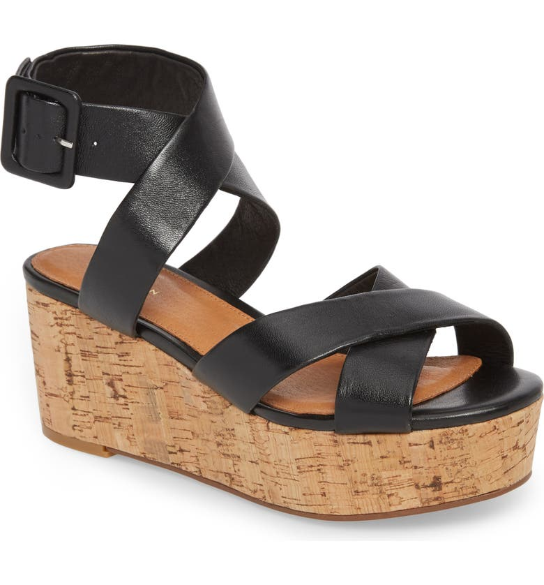HALOGEN<SUP>®</SUP> Evie Platform Wedge Sandal, Main, color, 001