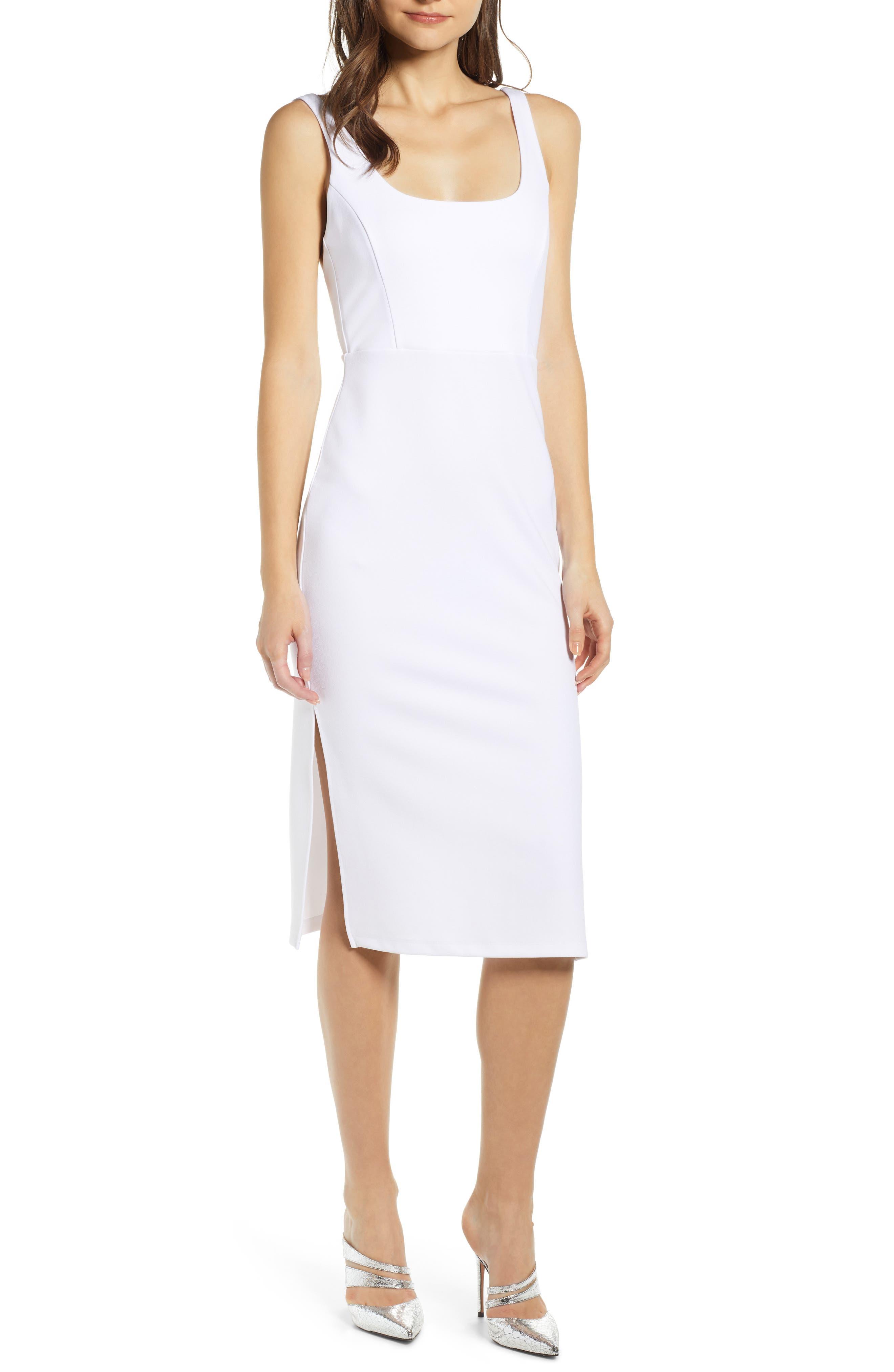 Leith Exposed Back Body-Con Midi Dress, White