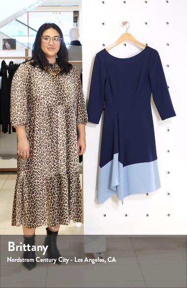 Colorblock Asymmetrical Hem Fit & Flare Crepe Dress, sales video thumbnail