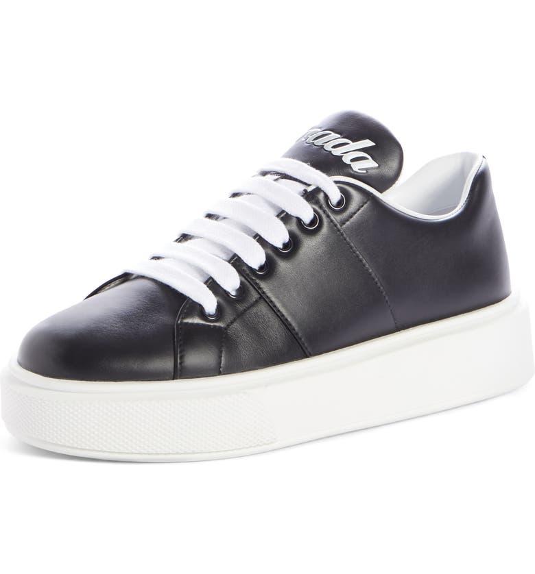 PRADA Logo Platform Sneaker, Main, color, BLACK