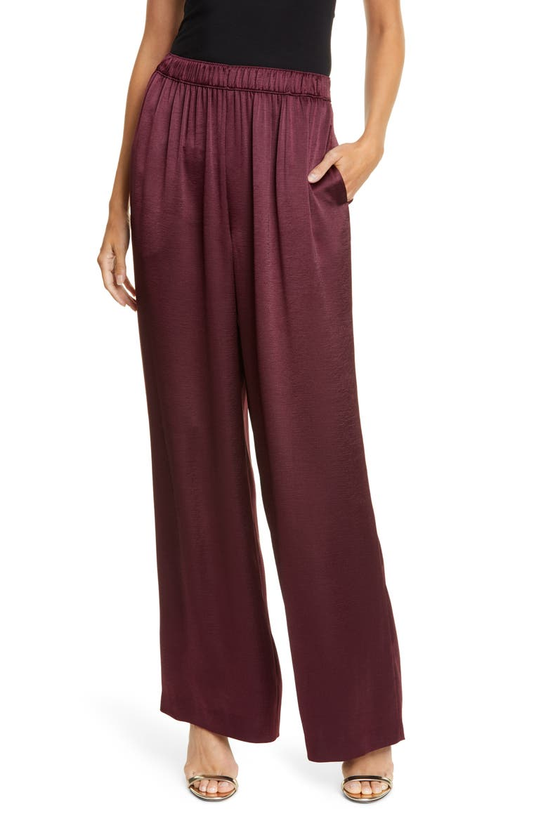 KATE SPADE NEW YORK wide leg satin pants, Main, color, CANDIED FIG