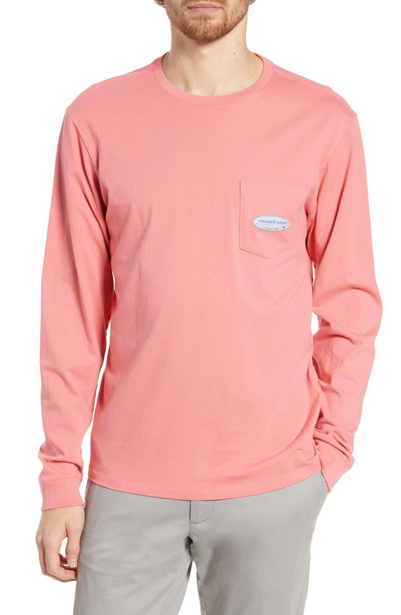 VINEYARD VINES Surf Logo Long Sleeve Pocket T-Shirt, Main, color, LOBSTER REEF