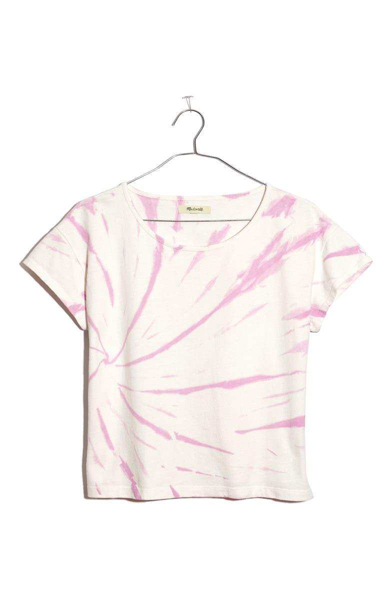 MADEWELL Cap Sleeve Tie Dye Boxy Organic Cotton T-Shirt, Main, color, LAVENDER MIST