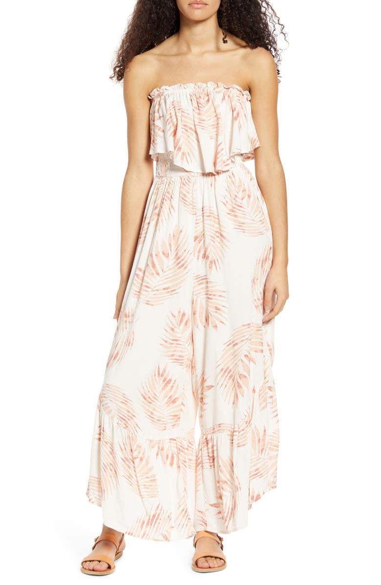 ALL IN FAVOR Ruffle Detail Strapless Jumpsuit, Main, color, BLUSH LEAF