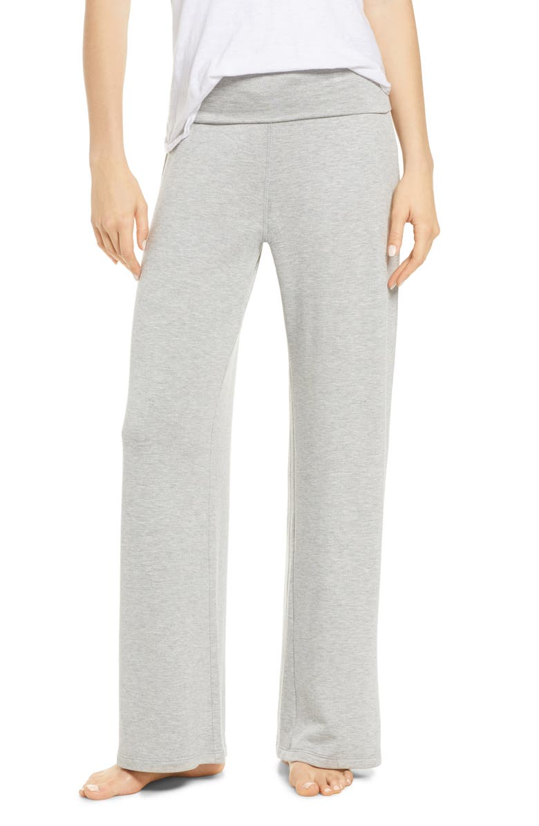 SOCIALITE Foldover Wide Leg Lounge Pants, Main, color, CHARCOAL
