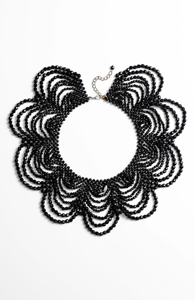 NATASHA COUTURE Beaded Collar Necklace, Main, color, 001