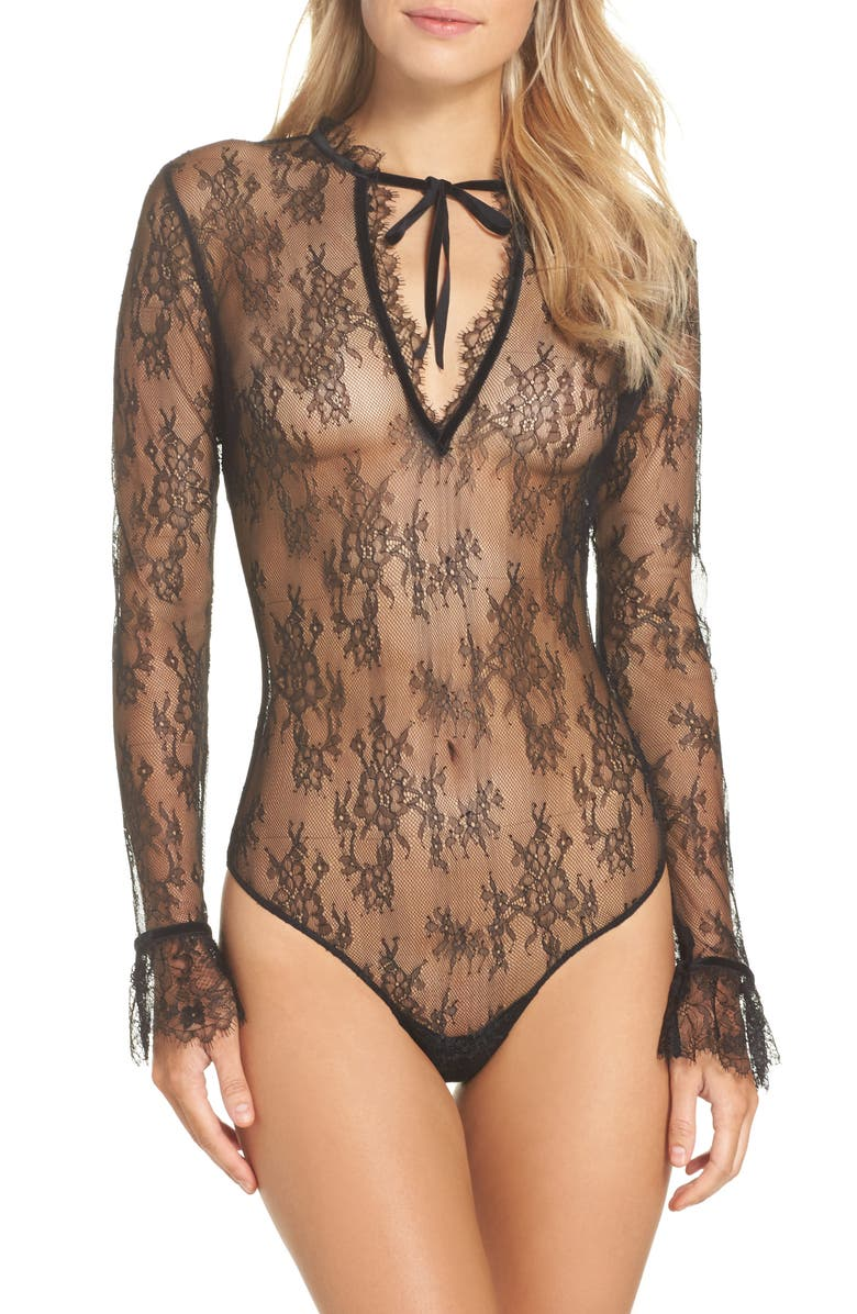DITA VON TEESE Miss West Lace Bodysuit, Main, color, 001