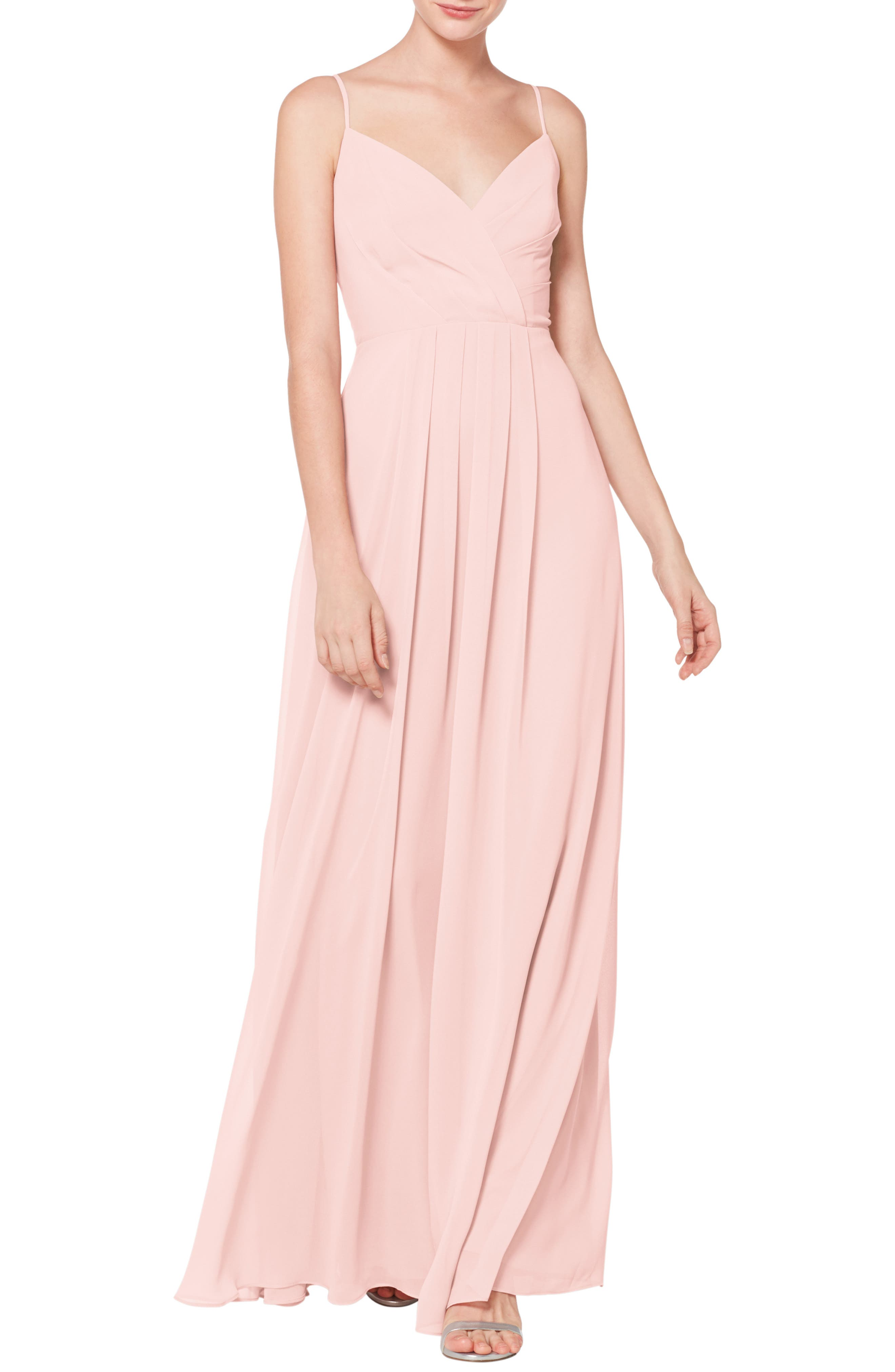#levkoff Surplice Neck Chiffon Evening Dress, Pink
