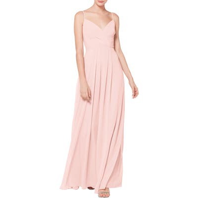 #levkoff Surplice Neck Chiffon Evening Dress, Pink