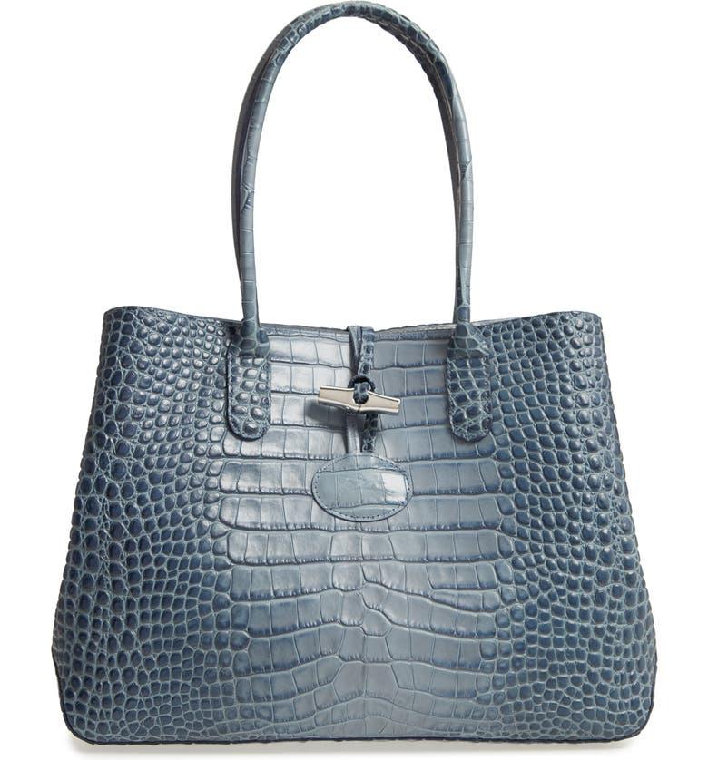 Longchamp Roseau Croc Embossed Leather Shoulder Tote | Nordstrom