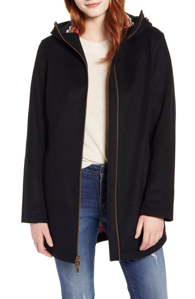 PENDLETON Finlay Waterproof Hooded Wool Blend Coat, Main, color, BLACK