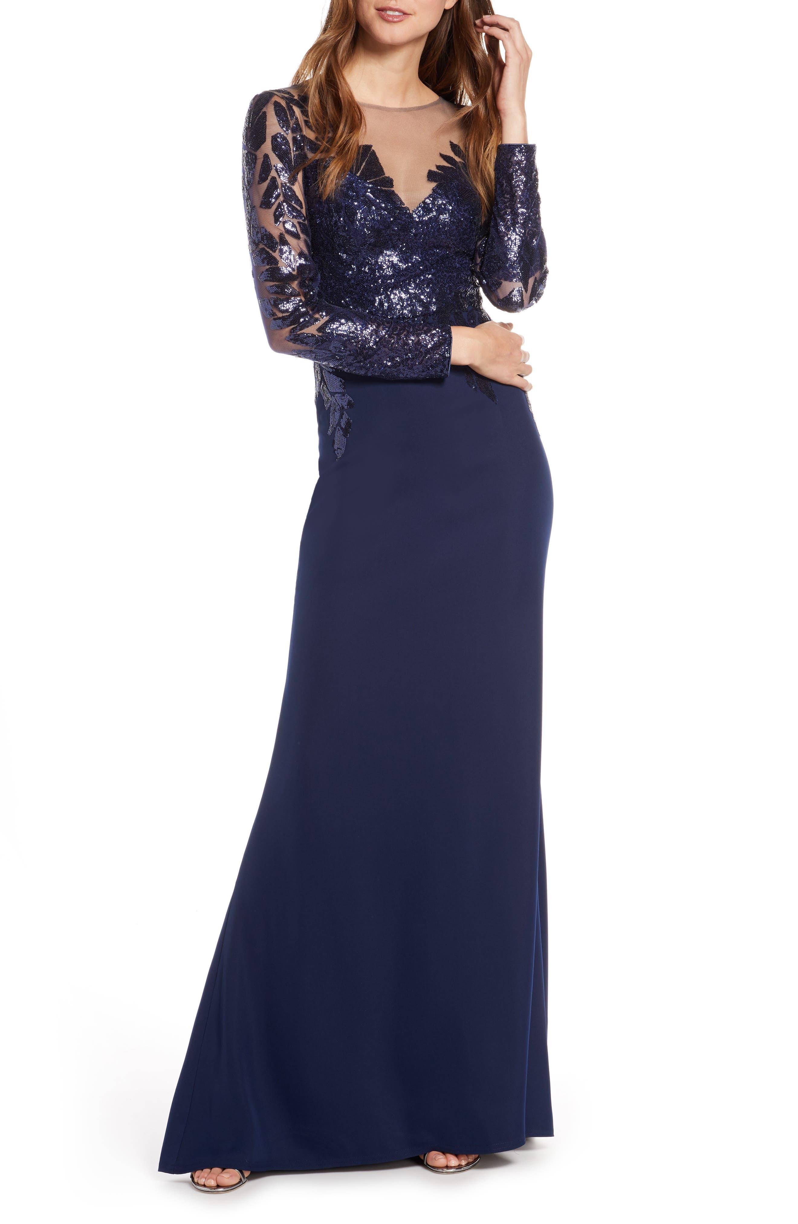 Tadashi Shoji Sequin Embellished Gown, Blue